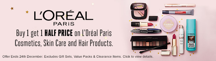 L'Oreal Paris Buy 1 Get 1 Half Price On Loreal Paris Cosmetics, Skin Care and Hair Products