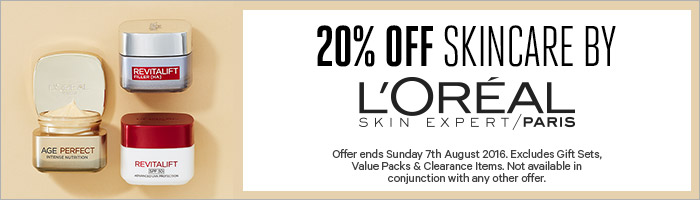 20% off skincare by loreal