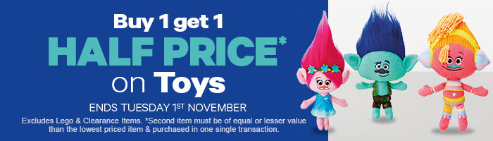 Buy 1 Get 1 Half Price On Toys 27 October - 1 November