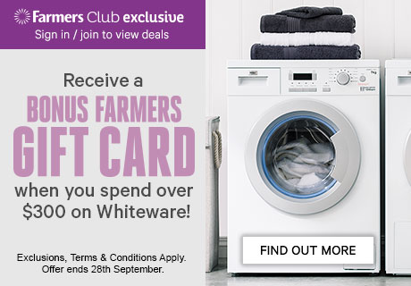 Receive a Bonus Gift Card when you spend over $300 on whiteware!