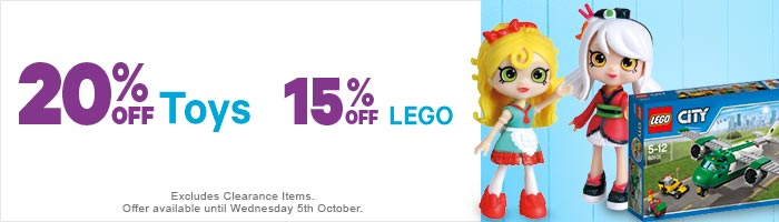 20% Off Toys & 15% Off Lego 30 - 05 October