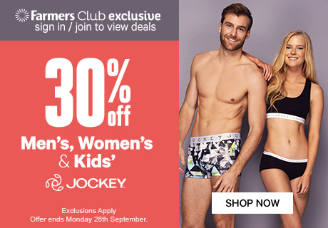 30% off Men's, Women's & Kids' Jockey