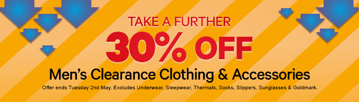 Take a further 30% of men's clearance clothing and accessories