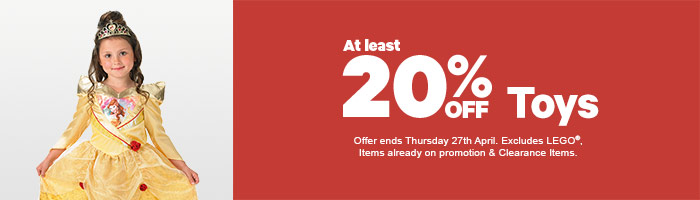 20% Off Toys - Must End 27 April