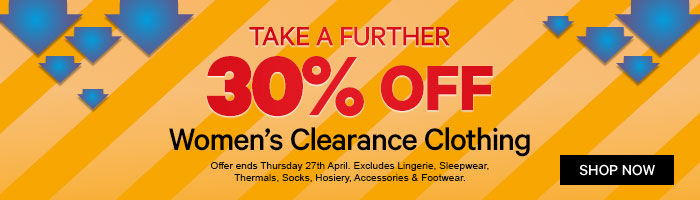 Take a further 30% off Women's Clearance Clothing