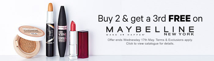Buy 2 and get a 3rd free on Maybelline New York
