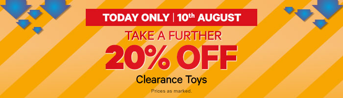 Take A Further 20% Off Clearance Toys - Must End 10 August