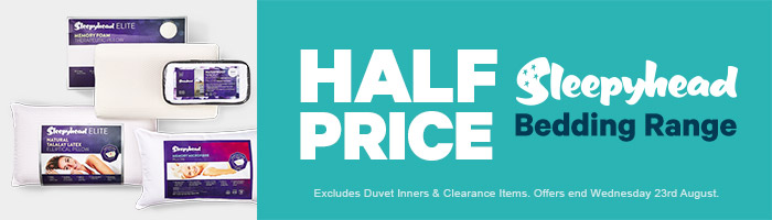 Half Price Sleepyhead Bedding Range. Ends 23 August