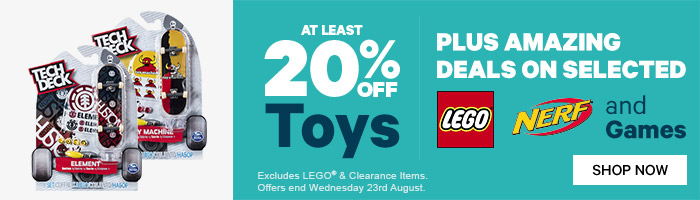 At least 20% Off Toys Plus Great Deals on LEGO, NERF & Games - Must End 23 August!