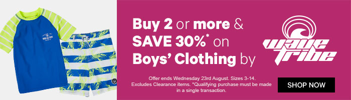 Buy 2 or more & save 30% on Boys' Clothing by Wavetribe