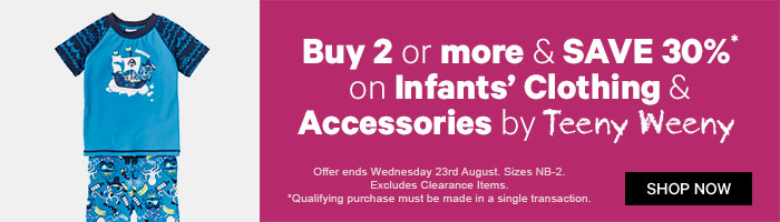 Buy 2 or more & save 30% on Infants' Clothing & Accessories by Teeny Weeny