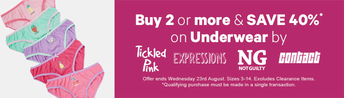 Buy 2 or more & save 40% on Underwear by Tickled Pink, Expressions, Not Guilty and Contact