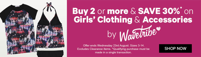 Buy 2 or more & save 30% on Girls' Clothing & Accessories by Wavetribe