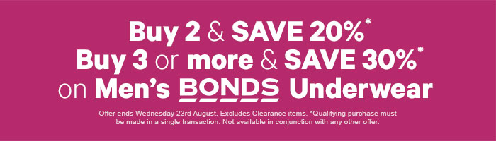 Buy 2 & save 20% Buy 3 or more & save 30% on Men's Bonds Underwear