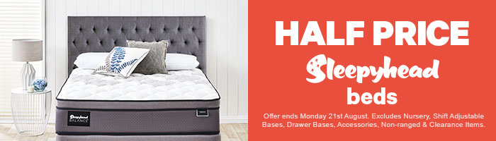 Half Price Sleepyhead Beds. Ends 21 August