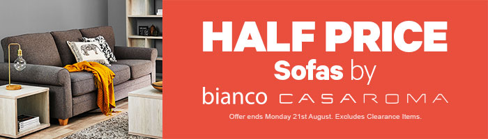 half price sofas by casaroma & bianco. Ends 21 August