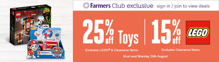 25% Off Toys | 15% Off Lego - Must End 28th August!