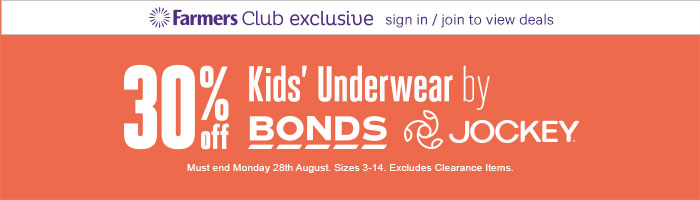 30% Off Kids' Underwear by Bonds & Jockey - Must End 28 August