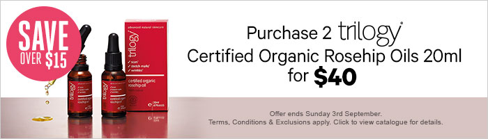 purchase 2 trilogy certified organic rosehip oils 20ml for $40