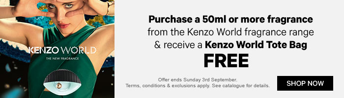 Purchase a 50ml or more fragrance from the kenzo world fragrance range and receive a kenzo world tote bag