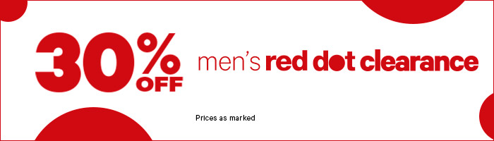30% off Men's red dot clearance
