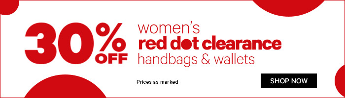 30% off women's red dot clearance handbags & wallets