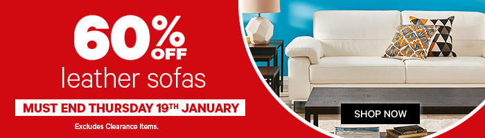 60% off leather sofas