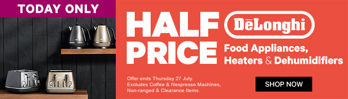 Half Price DeLonghi Food Appliances, Heaters & Dehumidifiers. Ends 27 July