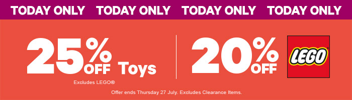 25% Off Toys & 20% Off LEGO - Must End 31 July