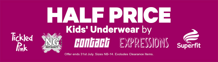 Half Price Selected Kids' Underwear