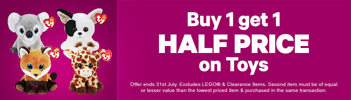 Buy One, Get One Half Price On Toys - Must End 31 July