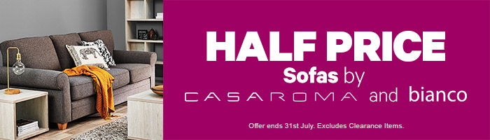 half price sofas by casaroma & bianco. Ends 31 July