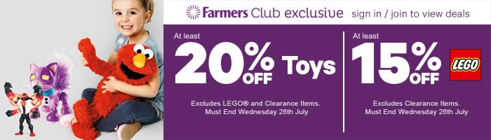 At least 20% off Toys, Exclusive to Farmers Club - Must End 26 July