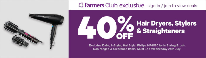 40% off hair dryers, stylers & straighteners. Ends 26 July