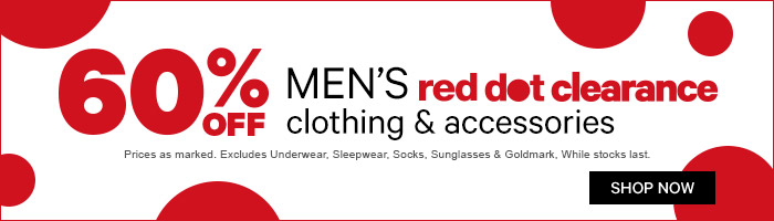 60% Off Men's Red Dot Clearance Clothing & Accessories - While Stocks Last
