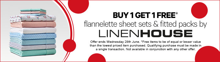 Buy 1 Get 1 Free, flannelette sheet sets & fitted packs by Linenhouse