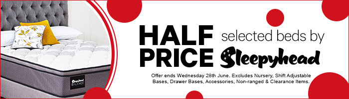 Half Price selected beds by Sleepyhead. 16-28 June