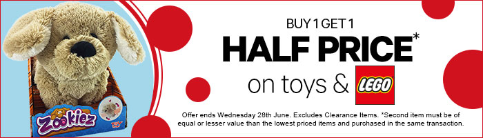 Buy One, Get One Half Price On Toys - Must End 28 June