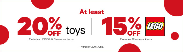 At least 20% Off Toys and 15% Off LEGO - Today Only!