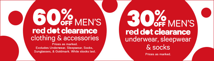 60% off Men's red dot clearance clothing & accessories
