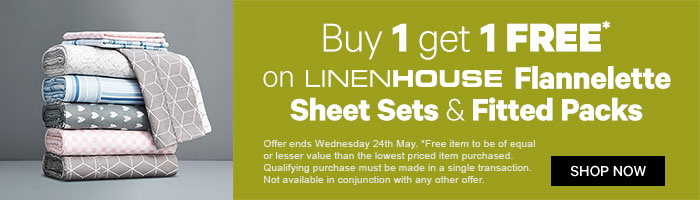 Buy 1 Get 1 Free on LinenHouse Flannelette Sheet Sets and Fitted Packs