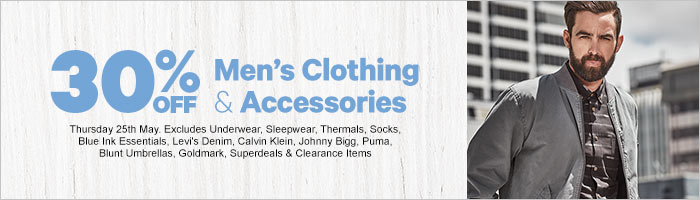 30% off Men's Clothing & Accessories