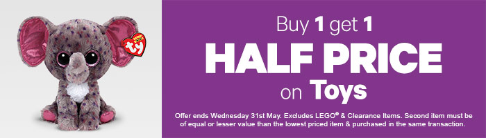 Buy One, Get One Half Price On Toys - Must End 31 May