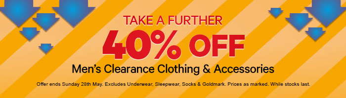 40% off Men's Clearance Clothing & Accessories