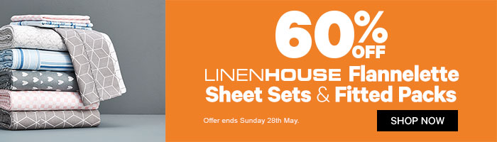 60% off LinenHouse Flannelette Sheet Sets and Fitted Packs