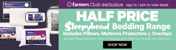 Half Price Sleepyhead Bedding Range. Ends 25 Sep