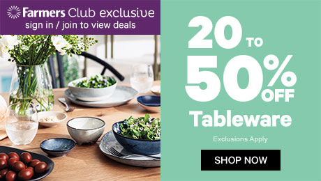 20 to 50% off Tableware