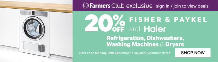20% off Fisher & Paykel and Haier Refrigeration, dishwashers, washing machines & dryers. Ends 25 Sep