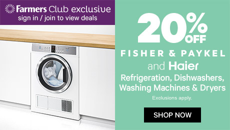 20% off Fisher & Paykel and Haier refrigeration, dishwashers, washing machines & dryers