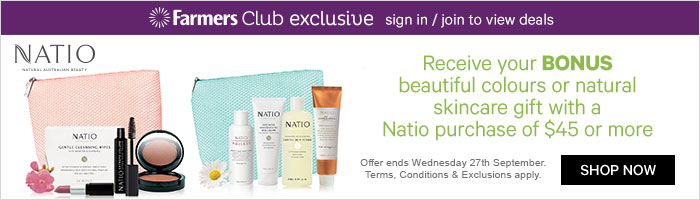 receive your bonus beautiful colours or natural skincare gift with a natio purchase of $45 or more
